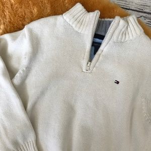 Tommy Hilfiger Cream Quarter Zip Pullover Sweater